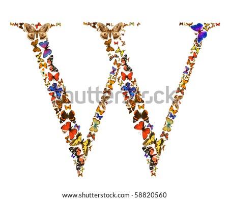 Butterfly font in white. Letter W