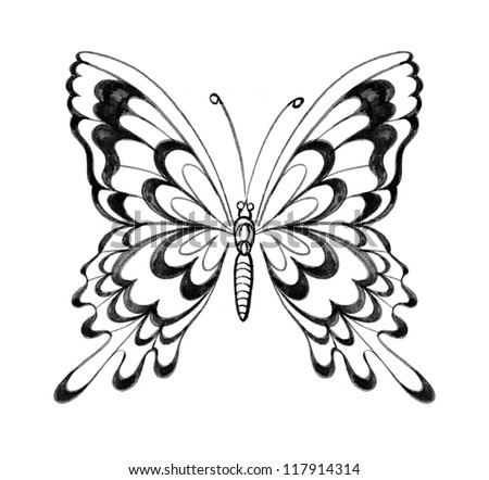 Butterfly (Hand drawn) - stock photo