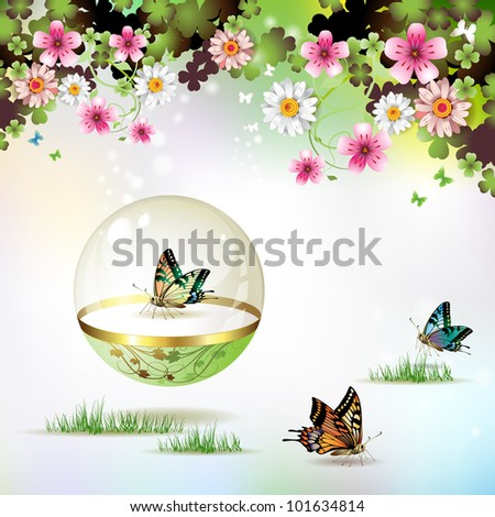 Butterfly isolated in glass globe on springtime background