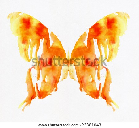 Butterfly isolated on white background. Watercolor.