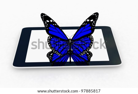 butterfly on a tablet pc - stock photo