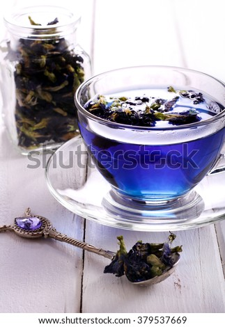 Butterfly pea blue tea in a cup
