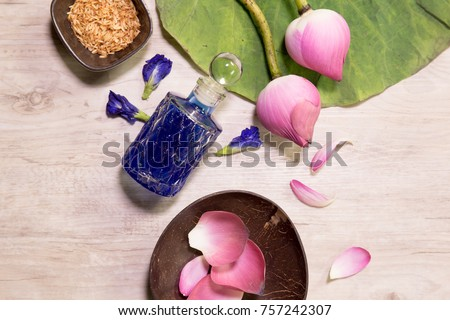 Butterfly Pea Flower juice,Lollipop,lotus on the table top view