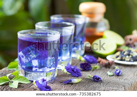 Butterfly pea or Blue pea flower herbal tea and dry butterfly pea flower