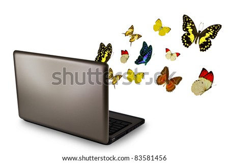 Butterfly reaches out of Laptop