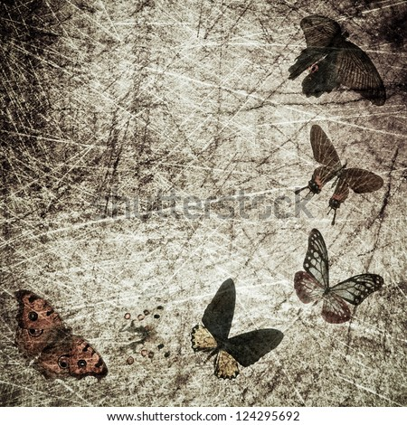 butterfly shabby wood grunge background