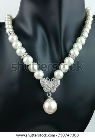 Butterfly silver pearl Luxury pendant with necklace and earrings Jewelry Set collection  #730749388