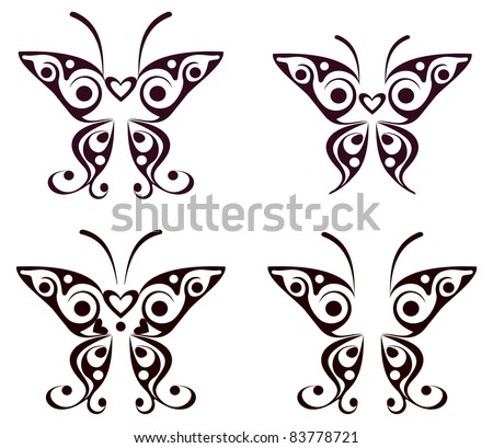 A Cartoon Illustration Of A Cool Butterfly Tattoo In Black And White