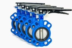 Butterfly valves isolated on the white background,the valve is used in industrial work.