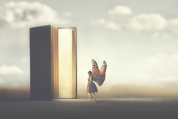 butterfly woman enters the pages of a fantasy book