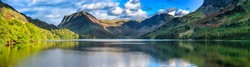 Buttermere lake overlooking Haystacks peak in Lake District. Cumbria, England