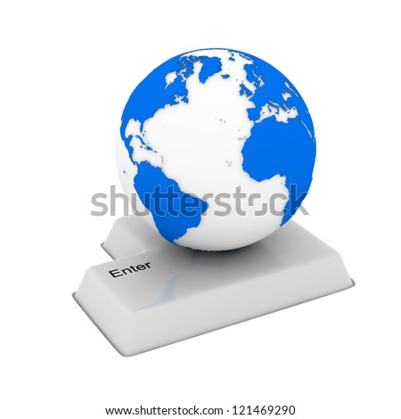 button and globe on white background. Isolated 3D image