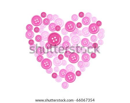 Button arranged to shape of heart