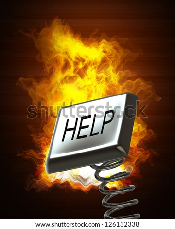 """Button """"Help"""" in Fire. High resolution. 3D image"""