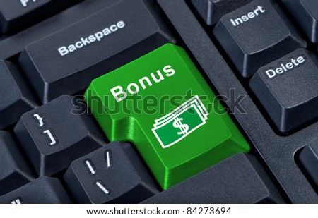 Button keypad bonus with money symbol. Internet concept finances.