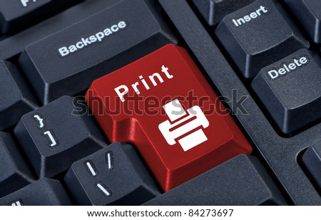 Button keypad print with printer icon.