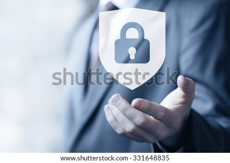 Shutterstock Button locked shield security virus icon business online