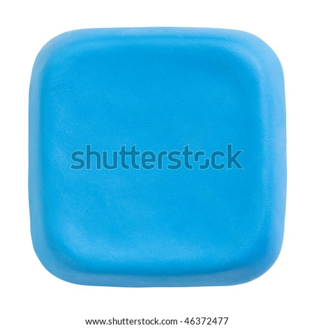 Button made of blue child's play clay isolated on white with clipping path
