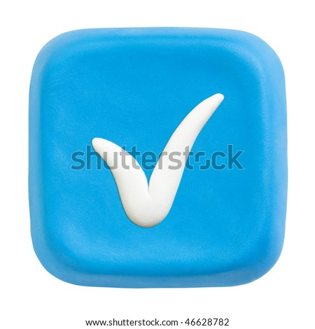Button made of blue child's play clay with white checked icon. Isolated on white with clipping paths separately for button and icon