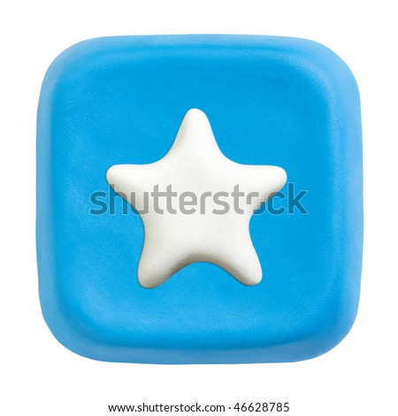 Button made of blue child's play clay with white favourites icon. Isolated on white with clipping paths separately for button and icon