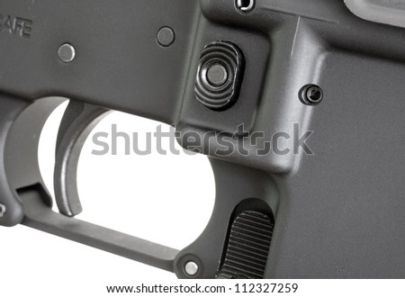 Button on an assault rifle designed to release the magazine
