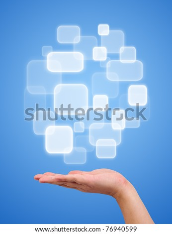 Button over a hand on blue background
