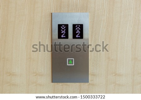 button panel of Elevator on wood wall #1500333722