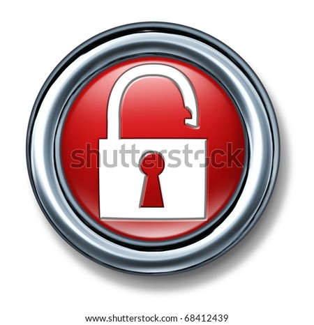 button push select red Firewall Network vulnerable Security technology symbol icon lock key code secret password enter open hacker unlocked