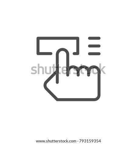 Button pushing line icon isolated on white