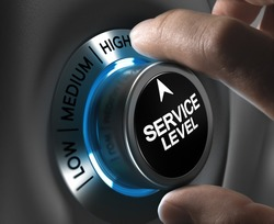 Button service level pointing the high position with blur effect plus blue and grey tones. Conceptual image for illustration of company performance or customer, satisfaction.