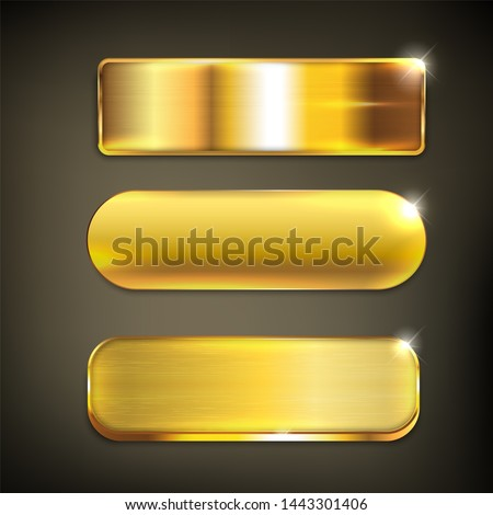 Button set color gold glossy