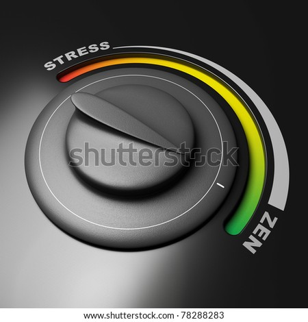 button stress ans zen, button is oriented to the zen position, green color