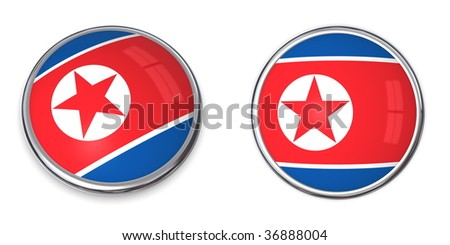 button style banner in 3D of North Korea