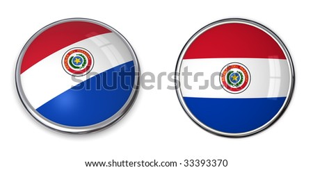button style banner in 3D of Paraguay Foto stock ©