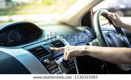 Button to the car  ask to give way , flame signal, light signal,emergency light #1130325083