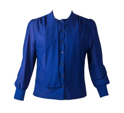 Button-up dark blue blouse for women isolated on white background. summer women's shirt