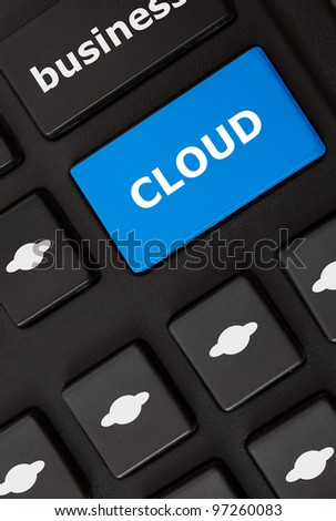 Button with cloud text and cloud computing symbols on the modern keyboard. Cloud computing  concept