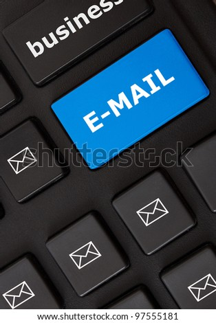 Button with e-mail text and letter symbols on the modern keyboard. E-mail concept