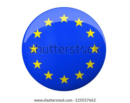 Button with EU flag isolated on background illustration - stock photo