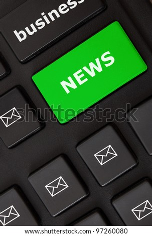 Button with news text and letter symbols on the modern keyboard. News concept