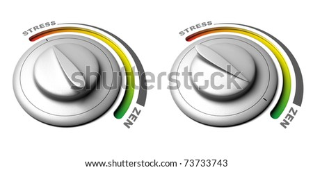 button with stress and zen positions over a white background