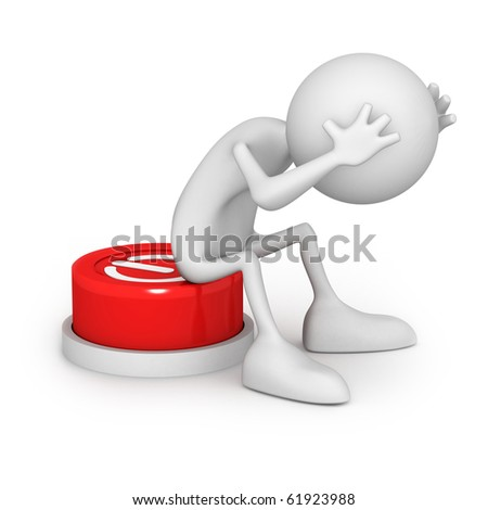Button with unknown function. Unrecognizable small people on 3D high quality render. Image isolated on white background.