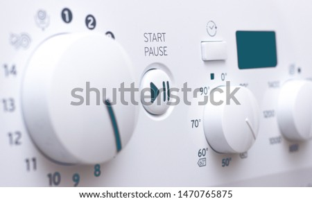 Buttons and knobs modern washing machine. #1470765875