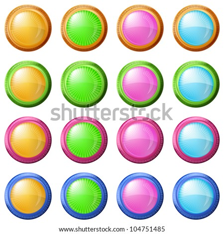 Buttons collection, round glossy blank web elements of various colors