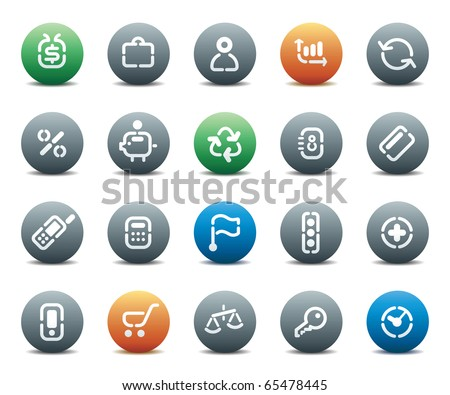 Buttons for business. Icons for websites and interface elements. Raster version. For vector version of this image, see my portfolio. - stock photo