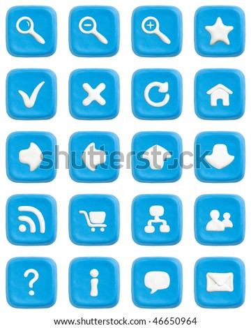Buttons made of blue child's play clay with white web icons. Isolated on white with clipping paths separately for buttons and icons