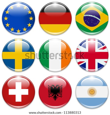 buttons of the eu, germany, brazil, sweden, ireland,united kingdom, switzerland, albania, and argentina isolated on white