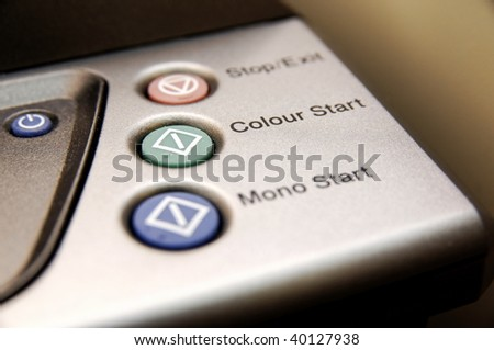 Buttons on a photocopier - stock photo