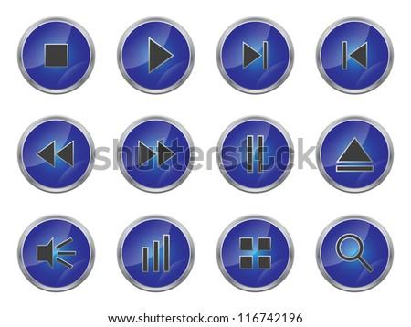 Buttons set. Raster version of vector illustration.