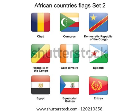 buttons with African countries flags set 2
